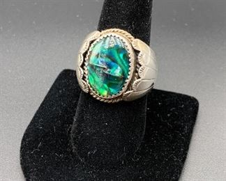 Vintage sterling silver and abalone ring, Native American Navajo (as-is, two scratches on stone)