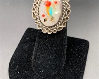 Vintage sterling silver ring with multi-stone inlay in a bird motif, Native American Navajo
