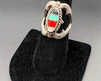 Vintage sterling silver sandcast ring with multi-stone inlay, Native American