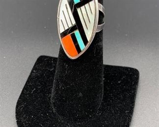 Vintage sterling silver ring with mother of pearl, coral and turquoise inlay, Native American Zuni