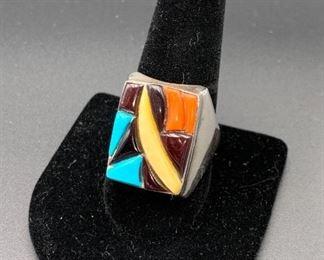 Vintage sterling silver multi-stone men's ring, Native American Navajo