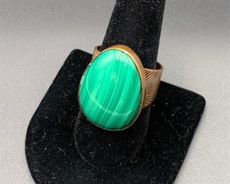 Newer Desert Rose Trading copper and malachite ring