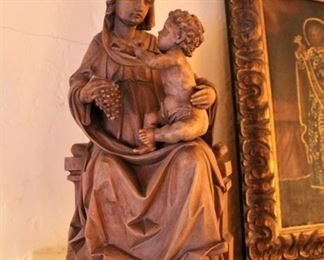 Carved wood Madonna and Child sculpture