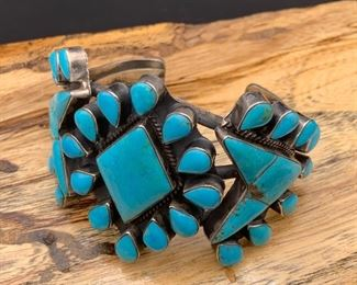 Vintage sterling silver and Kingman turquoise statement cuff bracelet, Native American Navajo