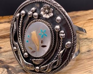 Vintage sterling silver and multi-stone inlay statement cuff bracelet, Native American Navajo