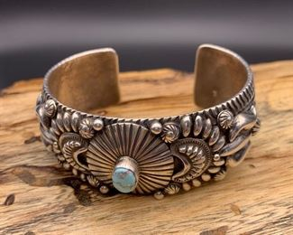 New Darryl Becenti sterling silver and Dry Creek turquoise statement cuff bracelet, Native American Navajo