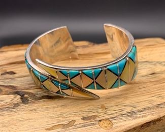 Vintage sterling silver, turquoise and shell inlay wrap style cuff bracelet, Native American Navajo