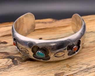 Vintage sterling silver, turquoise and coral cuff bracelet with a floral shadowbox motif, Native American Navajo