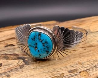 Vintage sterling silver and turquoise cuff bracelet with graduated fluted design, Native American Navajo