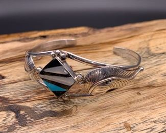 Vintage sterling silver and multi-stone inlay cuff bracelet, Native American Navajo (as-is, tiny chip in turquoise)