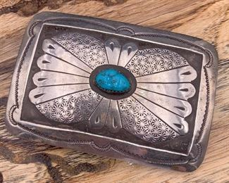 Vintage sterling silver and turquoise belt buckle, Native American Navajo