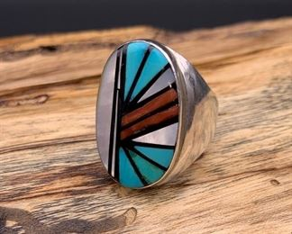 Vintage sterling silver and multi-stone inlay men's ring, Native American Zuni