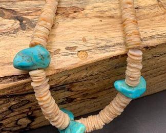 Vintage turquoise nugget and shell heishi necklace, Native American