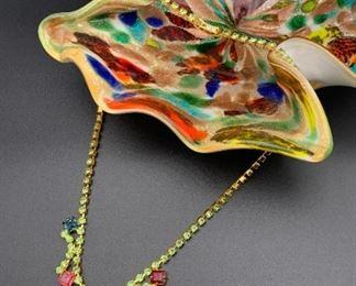 Czech rhinestone statement necklace