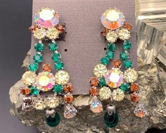Czech rhinestone statement earrings, clip-on