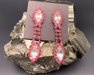 Czech rhinestone statement earrings, pierced