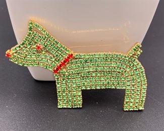 Czech rhinestone dog pin