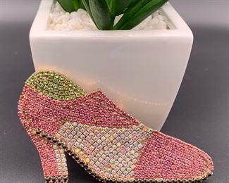 Czech rhinestone high heel shoe pin
