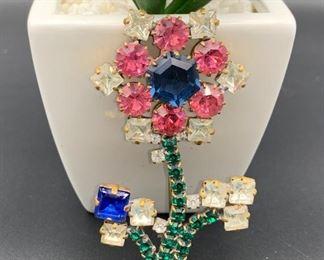 Czech rhinestone flower pin