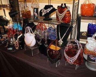 Costume jewelry and art glass purses
