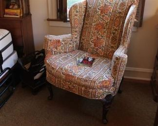 Amazing fabric upholstered wing back chair