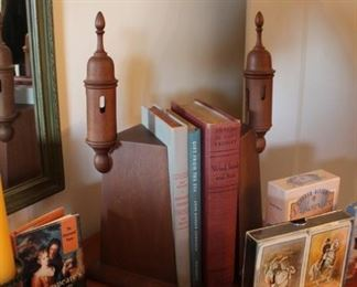 Vintage wood bookends