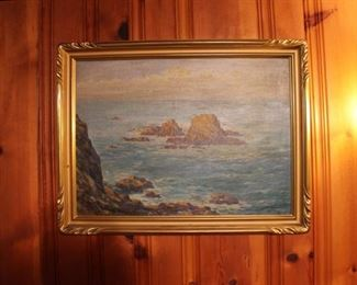 Rocks and seashore (California coast?) framed vintage painting by Andreas Roth (1872-1949), 1948