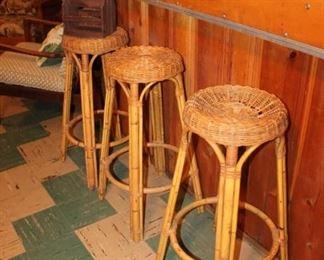 Tiki bamboo bar stools