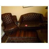 Leather Loveseat and Two Leather Chairs https://ctbids.com/#!/description/share/268658