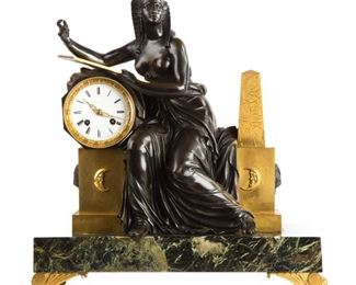 Claude Galle (French, 1759-1846) Fine French Egyptian Revival Figural Shelf Clock