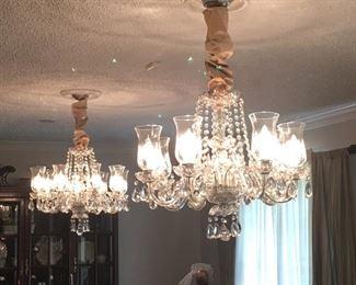 Pair crystal chandeliars