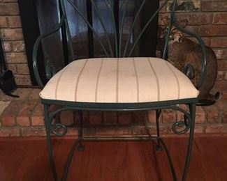 Pair wrought iron counter height stools.