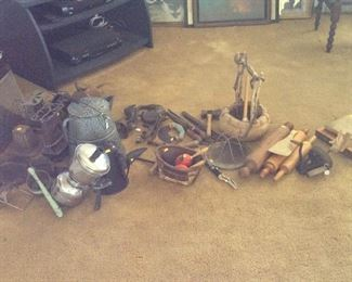 Antique wood and cast iron items. Vintage coffee pots.