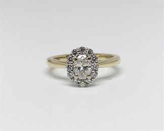 14k Yellow Gold Gabriel and Co Oval Diamond Halo Engagement Ring