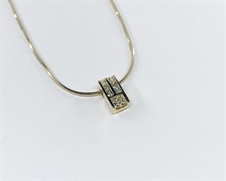 14k Yellow Gold Princess Cut Diamond Pendant and Chain