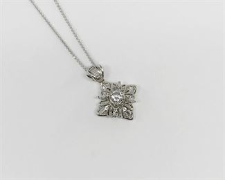 18k White Gold North Star Diamond Pendant