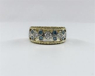 18k Yellow Gold Blue Yellow and White Diamond Ring