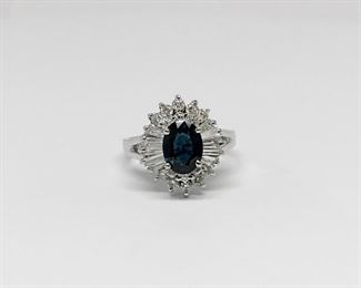 14k White Gold Sapphire and Diamond Ballerina Ring