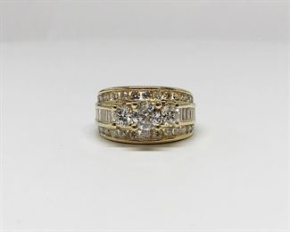 14k Yellow Gold 3 Row Diamond Ring