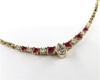 14k Yellow Gold Pear Shape Diamond and Ruby Necklace