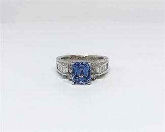 White Gold Synthetic Sapphire and Diamond Ring