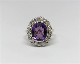 Yellow Gold Amethyst and Diamond Halo Ring