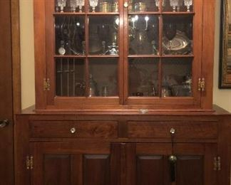 Antique black walnut set back cabinet