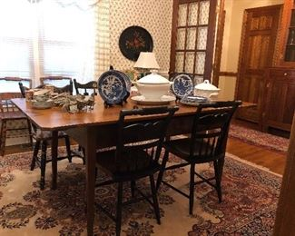 Antique pine harvest table, 4 Hitchcock chairs