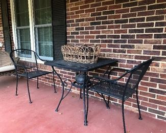 Wrought iron table and 2 chairs