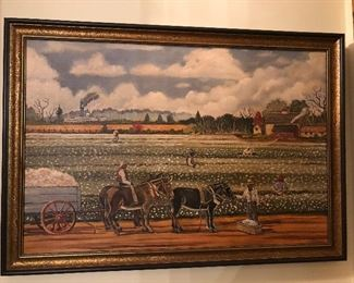 Cotton Picking Original Oil Painting-signed Moore