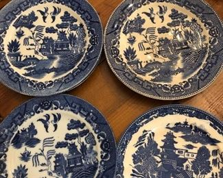 Various Blue Willow plates from Japan