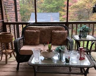 Wicker love seat, coffee table, end table and chair