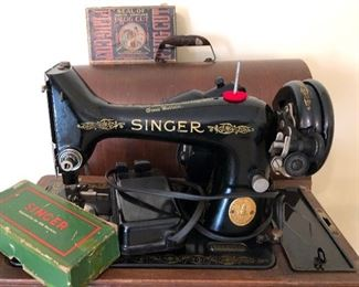 Singer sewing machine with box and parts