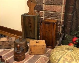Antique candle boxes and butter molds